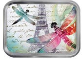 Dragonflies Design Lidded Silver 2oz Tin Tobacco Storage Pill Box Fishing Tack