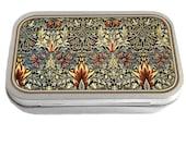 William Morris Design 04 Slim Hinged Silver 1oz Tin Tobacco Storage Pill Box Fishing Tack