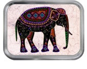 Glass Art Elephant 02 Lidded Silver 2oz Tin Tobacco Storage Pill Box Fishing Tack