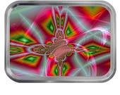 Fractal Pattern 11 Lidded Silver 2oz Tin Tobacco Storage Pill Box Fishing Tack
