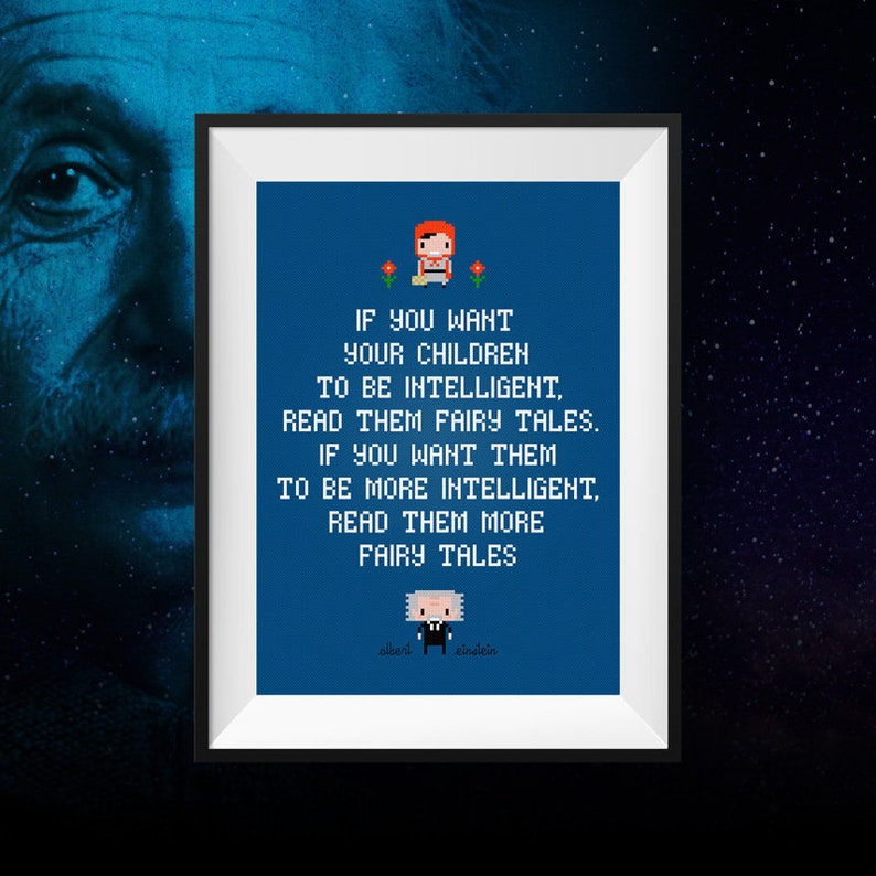 Albert Einstein Quotes Cross Stitch Pattern Funny Quotes Etsy