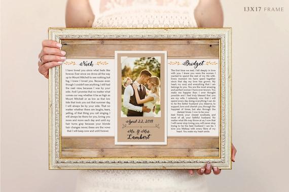 Wedding Vow Art Framed Wedding Vows Wedding Vow Keepsake Etsy