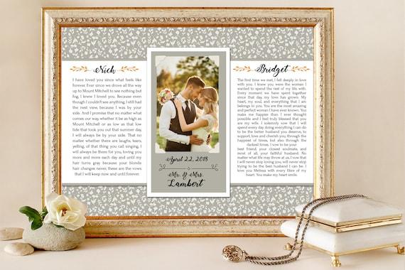 Wedding Vows Wedding Vows Framed First Anniversary Gift | Etsy