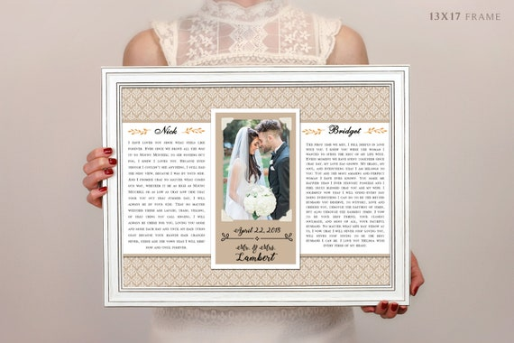 Wedding Vow Art Framed Wedding Vows Wedding Vow Keepsake | Etsy