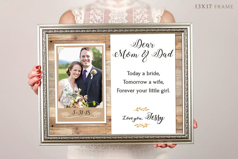 Parents Wedding Gift Thank You Gift Father Of The Bride Gift Mother Of The Bride Gift Personalized Picture Frame Parents Of The Bride