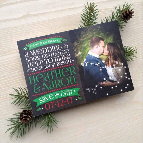 Christmas Save The Date.Mistletoe Wedding Save The Dates Holiday Save The Date Christmas Save The Dates Mistletoe Save The Date Printed Chalkboard