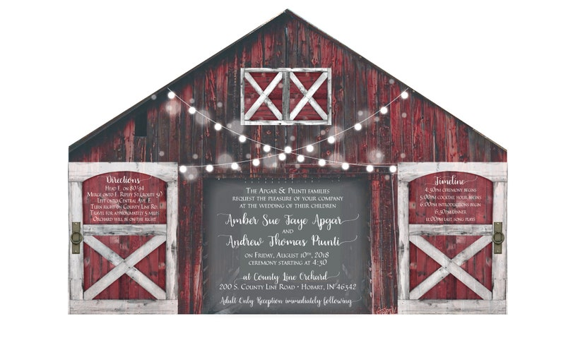 Rustic Red Barn Wedding Invitation With Folding Doors And Strings Of Lights O Optional Postcard Response Card