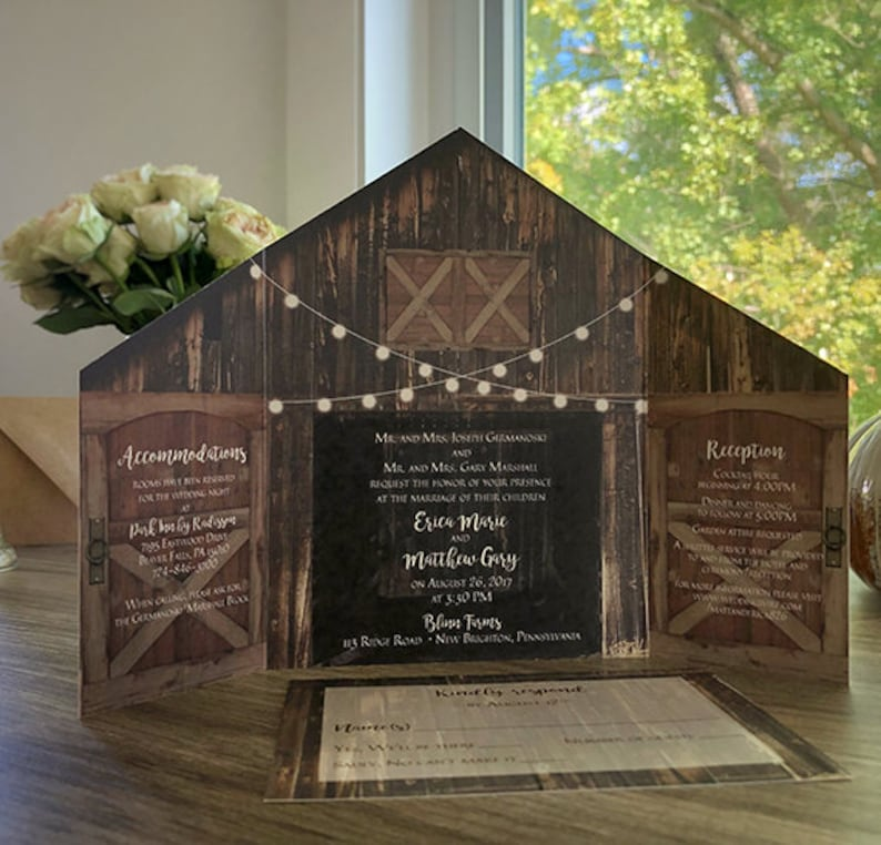 Rustic Barn Wedding Invitation With Folding Doors And Strings Of Lights O Optional Postcard Response Card