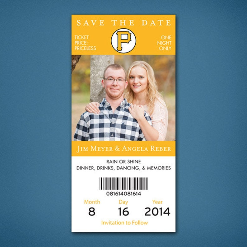 Wedding Save the Date \u2022 Ticket Style Save the Date \u2022 Save the Date \u2022 Baseball Save the Date \u2022 Pittsburgh \u2022 Pittsburgh Pirates Save the Date