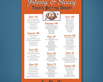 PRINTABLE Wedding Seating Chart • Baseball Seating Chart • Baseball • Giants • Guest List • Reception Seating Assignment • Digital File