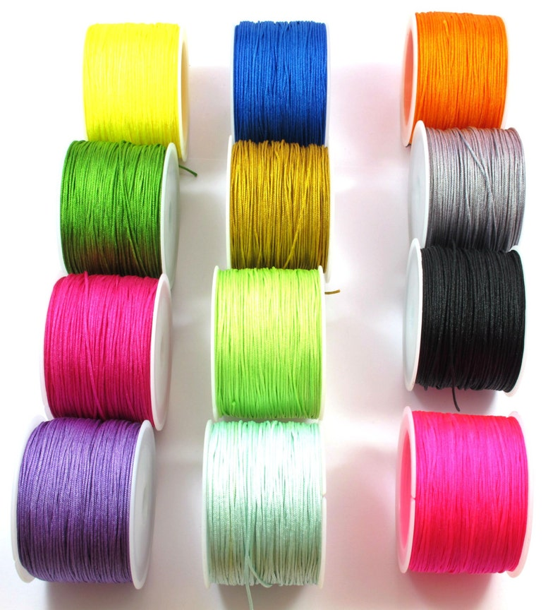 Black,Green,Yellow,Red,Purple,Blue 10 Meters 2mm Flat Braided Cord in White