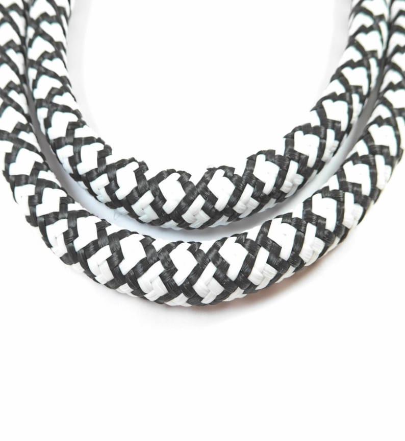 1 Meter  Braided Trim Rope Snake Cord Semisoft Climbing Cord String Round Cord 10mm,White-Black