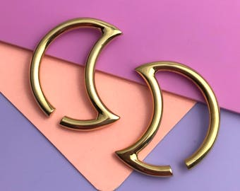 READY TO SHIP Luna Ear Weights - Solid Brass - Ear Hangers for Stretched Lobes