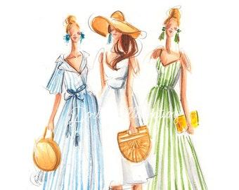 Fashion print, Summer wall art, Fashion illustration, Summer art, Fashion wall art, Nursery decor, Fashion sketch , Summer print