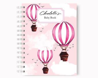 Baby book for girls, Baby journal, Baby diary, Baby memory book, Girl Baby book, Pink Baby book, Baby shower gift, Custom Baby Book