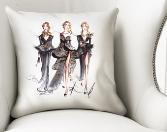 Fashion pillow, Designer pillow, Illustrated pillow, Decorative pillow, Black pillow, Throw pillow, Pillow cover, Art pillow, Home decor