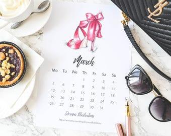 2018 Calendar,Downloadable Fashion Calendar, Digital Fashion Calendar,2018 Desk Calendar, Heels Calendar, Fashion illustration,Calendar 2018