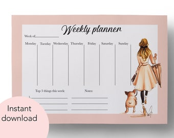 Girl with Frenchie, Weekly Planner, Printable Planner, Digital Planner, Instant download, Downloadable planner, French Bulldog, Fashion art