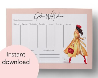 Digital Weekly Planner, Instant Download, Girlboss planner, Fashion planner, Weekly planner, Downloadable planner, Fashion illustration