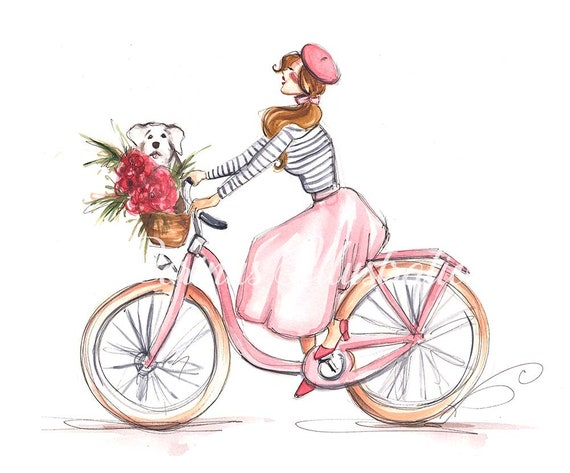 Girl On Bike Fashion Illustration Nursery Illustration Girl Etsy