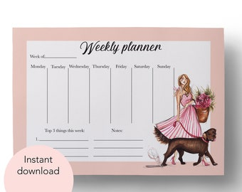 Digital Weekly Planner, Instant Download, Girly planner, Fashion planner, Weekly planner, Downloadable planner, Fashion illustration