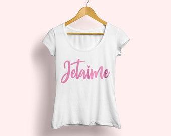 Summer T-shirt, Jetaime T-shirt, French T-shirt, Jetaime tee, French tee, Typography tee, Girls fashion tee, Cute pink tee, Cute French tee