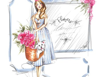 Girl with dog, Girl with westie, Fashion illustration, Dog art, Fashion art, Fashion wall art, Girl illustration, Dog lover art, Nursery art