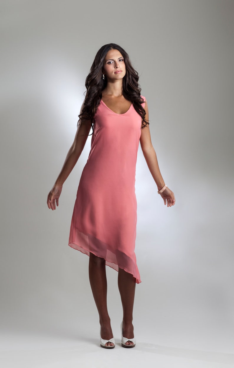 f7acbfcb459e Light Pink Coral Chiffon Cocktail Dress | Etsy