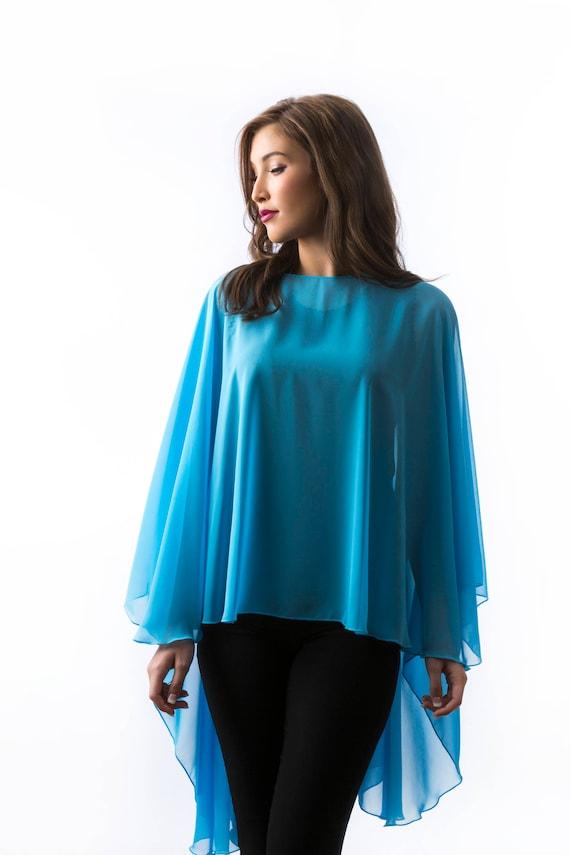 663696f53de6 Bright Blue Chiffon Glamour Poncho Cape | Etsy