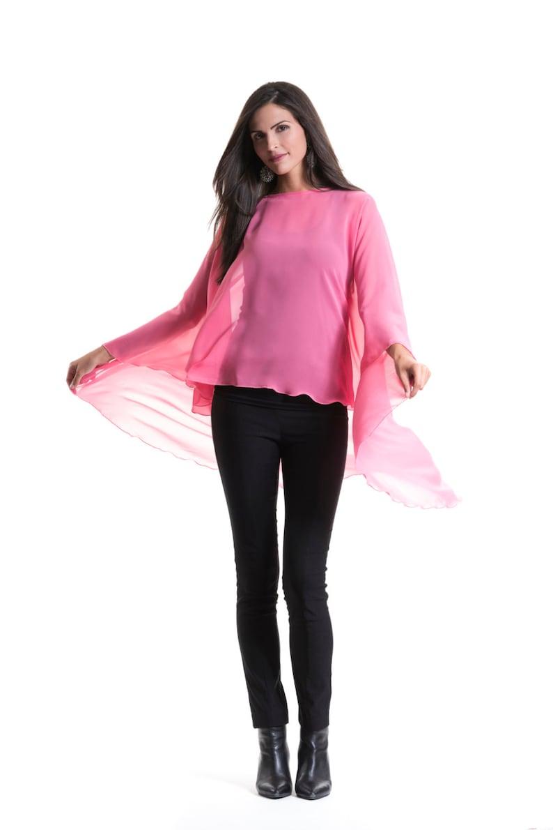 c36fa475294a Bright Pink Chiffon Glamour Poncho Cape | Etsy