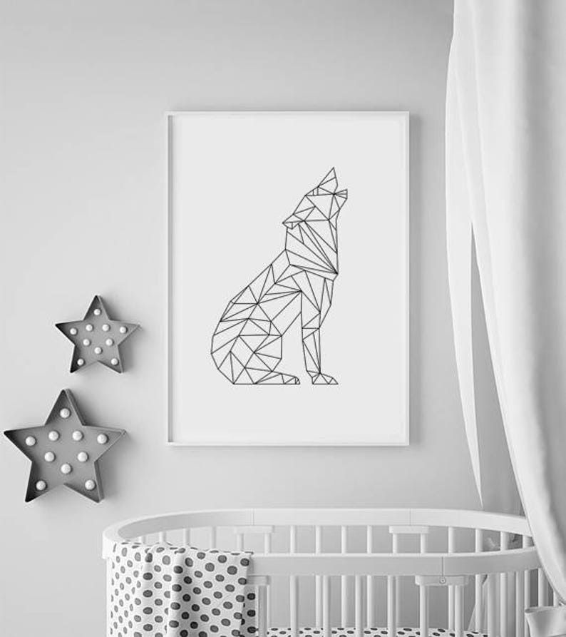 Wolf Print Wolf Gifts Nursery Animal Prints Nursery decor image 0