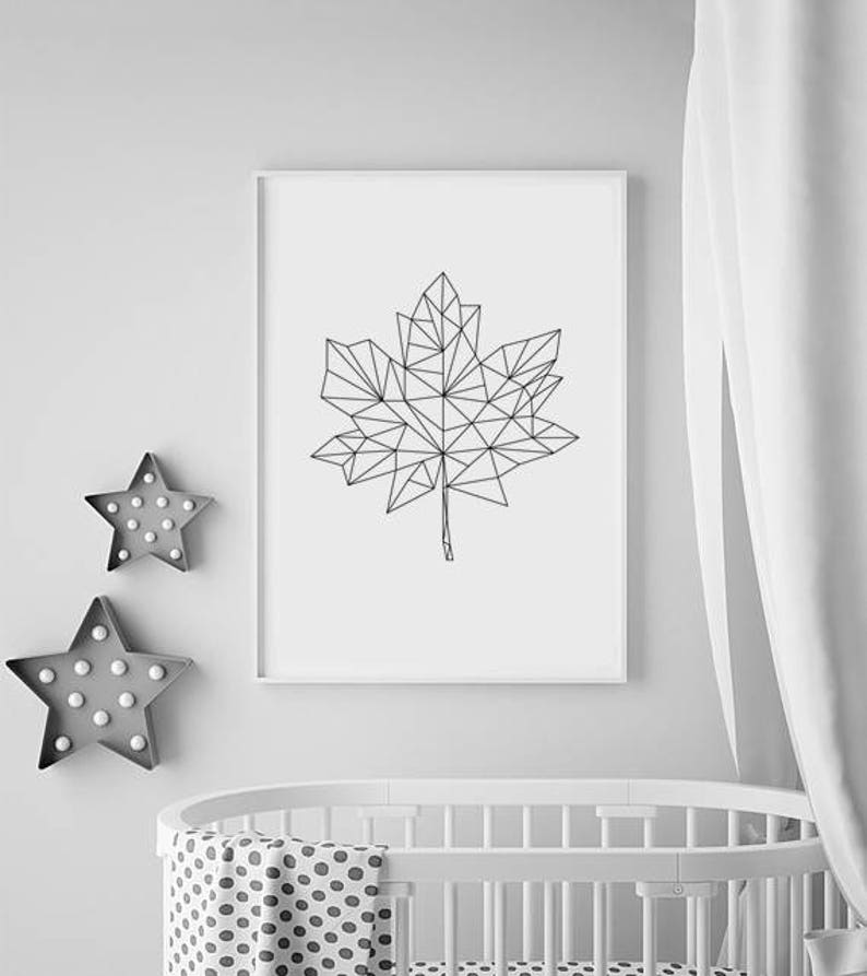 Maple Leaf Art Maple Leaf Wall Art Prints Geometric Nursery image 0