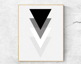 Black and white print, Mid century modern art, Geometric print, Minimalist art print, Scandinavian print, Scandinavian modern art, Wall art