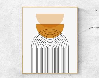 Scandinavian Wall Art, Digital Download Abstract Print, Minimalist Wall Décor, Orange Wall Décor, Printable Wall Art Print, Large Poster