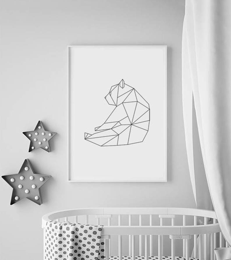 Geometric Bear Print Nursery Animal print Geometric Wall image 0