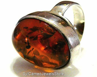 Amber Fossil Ring Domed Oval Statement Cognac Color Sterling Silver SylCameoJewelsStore