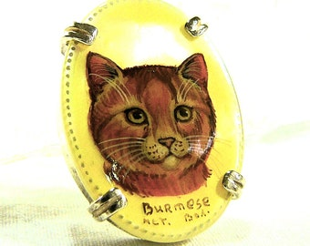 Burmese Cat Hand Painted Cameo Pendant Necklace Sterling Silver Pendant, Mother Of Pearl SylCameoJewelsStore