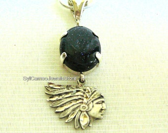 Indian Head Charm Necklace Midnight Blue Sandstone Pendant Sterling Silver Setting SylCameoJewelsStore