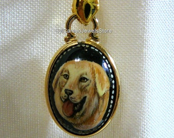 Golden Retriever Dog Hand Painted Cameo Pendant  Necklace 14 kt GF Setting Bk Onyx Gemstone Original Art Jewelry SylCameoJewelsStore