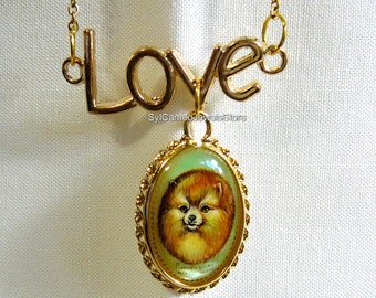 Hand Painted Art Cameo Pomeranian Dog 14k GF Pendant Necklace Jewelry Love Charm SylCameoJewelsStore