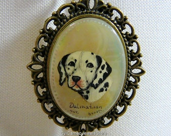 Hand Painted Cameo Dalmatian Dog Art Pendant Necklace Charm Jewelry SylCameoJewelsStore