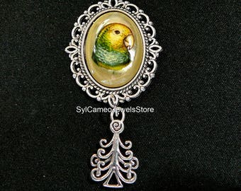 Amazon Parrot Hand Painted Cameo Pendant Charm Necklace Art Jewelry SylCameoJewelsStore