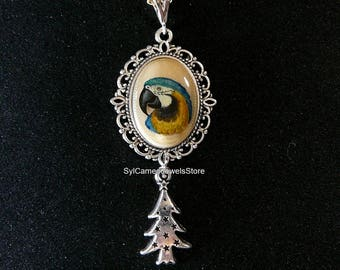 Hand Painted Art Cameo Blue and Gold Macaw Parrot Pendant Charm Jewelry SylCameoJewelsStore