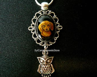 Hand Painted Dachshund Dog Cameo Pendant Owl Charm Necklace Art Jewelry SylCameoJewelsStore