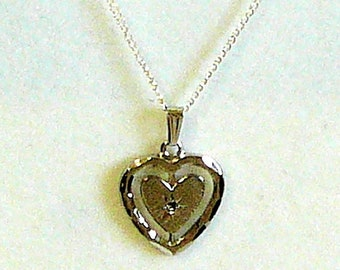 Sterling Silver Heart Pendant Tiny Diamond Gemstone 20 inch Necklace Fine Jewelry SylCameoJewelsStore