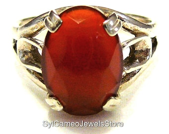 Red Carnelian Stone Statement Ring Sterling Silver SylCameoJewelsStore