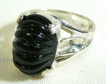 Statement Ring Black Onyx Intaglio Sterling Silver Fine Jewelry SylCameoJewelsStore
