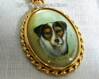 Jack Russell Dog Hand Painted Cameo Pendant Necklace Mother Of Pearl Jewelry 14k Gold Filled SylCameoJewelsStore
