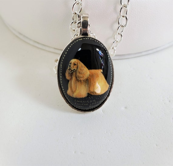 Hand Painted Cameo American Cocker Spaniel Dog Pendant Jewelry Original Art Black Onyx SylCameoJewelsStore
