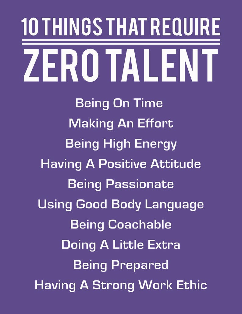 image relating to 10 Things That Require Zero Talent Printable identified as 10 Factors That Need to have Zero Ability, Extremely Violet, Inspirational Print, Motivational Poster, Typography Artwork, Office environment Wall Decor Accomplishment Rules